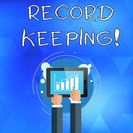 Handwriting text writing Record Keeping. Conceptual photo The activity or occupation of keeping records or accounts Businessman Hand Touching Pointing to Bar Line Chart on Smartphone Screen