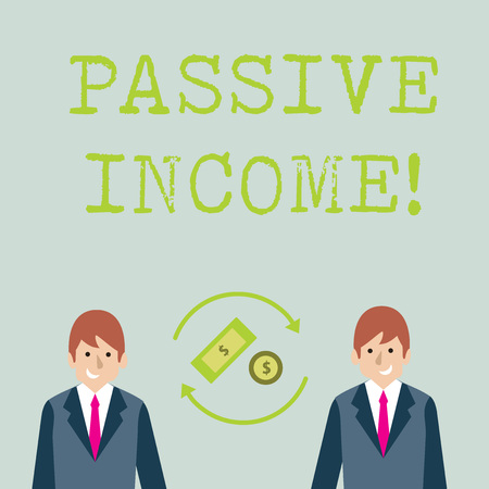 Conceptual hand writing showing Passive Income. Concept meaning the earnings derived from a rental property and others Money in Dollar Sign in Rotating Arrows Between Businessmen Banco de Imagens