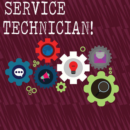 Word writing text Service Technician. Business photo showcasing Managing all on site installation and repair task Set of Global Online Social Networking Icons Inside Colorful Cog Wheel Gear