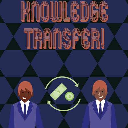 Word writing text Knowledge Transfer. Business photo showcasing sharing or disseminating of knowledge and experience Money in Dollar Currency Sign Inside Rotating Arrows Between Two Businessmen Banque d'images - 122079718