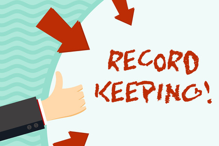 Handwriting text writing Record Keeping. Conceptual photo The activity or occupation of keeping records or accounts Hand Gesturing Thumbs Up and Holding on Blank Space Round Shape with Arrows Archivio Fotografico