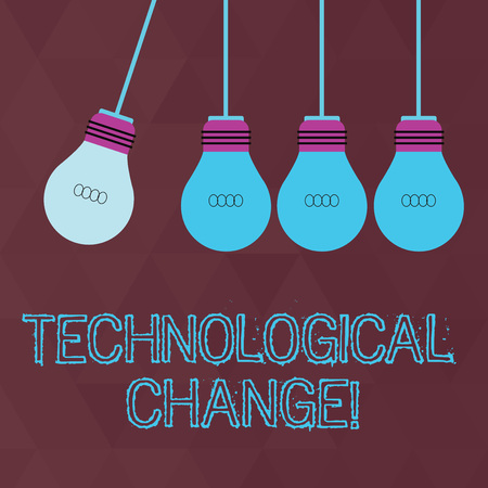 Conceptual hand writing showing Technological Change. Concept meaning increase in the efficiency of a product or process Color Pendant Bulb Hanging with One Different Shade Lightbulb