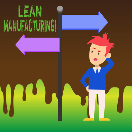 Word writing text Lean Manufacturing. Business photo showcasing focus on minimizing waste within analysisufacturing systems Man Confused with the Road Sign Arrow Pointing to Opposite Side Direction Stok Fotoğraf