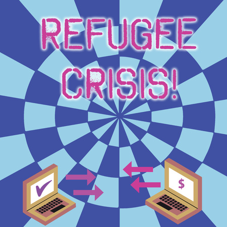 Conceptual hand writing showing Refugee Crisis. Concept meaning refer to movements of large groups of displaced showing Arrow Icons Between Two Laptop Currency Sign and Check Icons Archivio Fotografico
