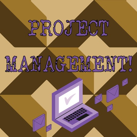 Conceptual hand writing showing Project Management. Concept meaning method of organizing all activities related to a project Mail Envelopes around Laptop with Check Mark icon on Monitor