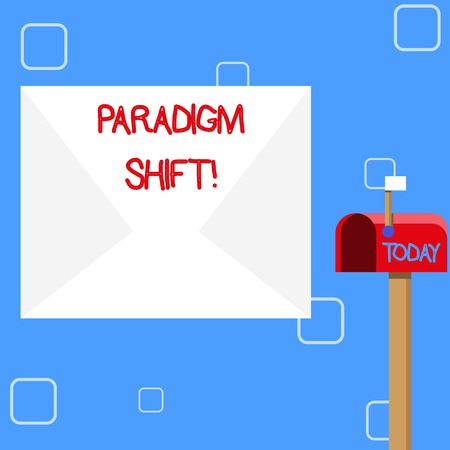 Handwriting text Paradigm Shift. Conceptual photo fundamental change in approach or underlying assumptions Blank Big White Envelope and Open Red Mailbox with Small Flag Up Signalling Stock Photo
