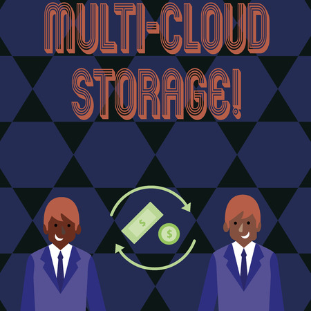 Word writing text Multi Cloud Storage. Business photo showcasing use of multiple cloud computing and storage services Money in Dollar Currency Sign Inside Rotating Arrows Between Two Businessmen 版權商用圖片