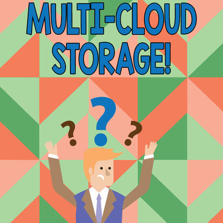 Text sign showing Multi Cloud Storage. Business photo showcasing use of multiple cloud computing and storage services Confused Businessman Raising Both Arms with Question Marks Above his Head