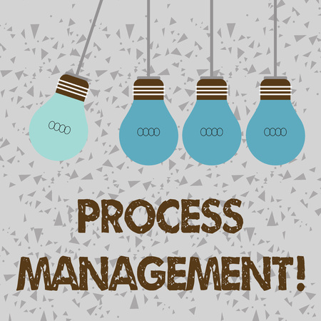 Word writing text Process Management. Business photo showcasing aligning processes with an organization s is strategic goals Color Incandescent Pendant Bulb Hanging with One Different Shade Lightbulb