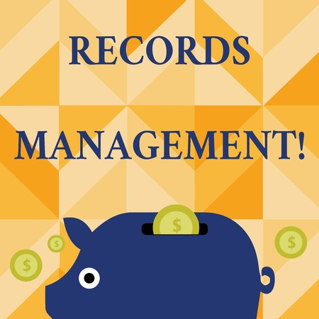 Conceptual hand writing showing Records Management. Concept meaning administration of records and documented information Piggy Money Bank and Coins with Dollar Currency Sign on Slit Stok Fotoğraf