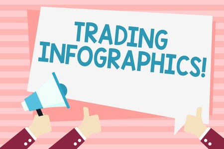 Handwriting text Trading Infographics. Conceptual photo visual representation of trade information or data Hand Holding Megaphone and Other Two Gesturing Thumbs Up with Text Balloon