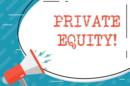 Handwriting text Private Equity. Conceptual photo the money invested in firms which have not gone public Blank White Huge Oval Shape Sticker and Megaphone Shouting with Volume Icon 版權商用圖片