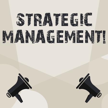 Conceptual hand writing showing Strategic Management. Concept meaning formulation and implementation of the major goals Spotlight Crisscrossing Upward from Megaphones on the Floor Reklamní fotografie