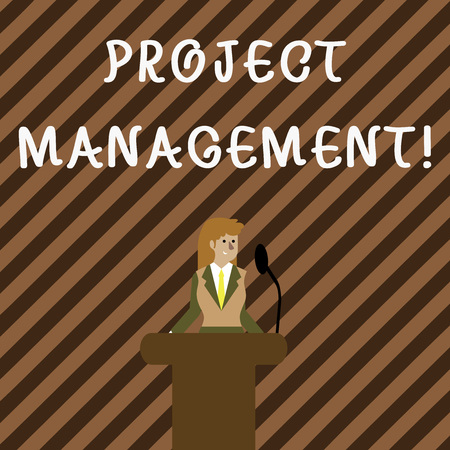 Handwriting text writing Project Management. Conceptual photo method of organizing all activities related to a project Businesswoman Standing Behind Podium Rostrum Speaking on Wireless Microphone