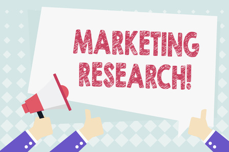 Conceptual hand writing showing Marketing Research. Concept meaning process of determining the viability of a new service Hand Holding Megaphone and Gesturing Thumbs Up Text Balloon