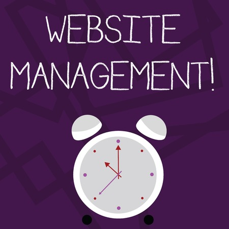 Writing note showing Website Management. Business concept for control of the hardware and software used in a website Colorful Round Analog Two Bell Alarm Desk Clock with Seconds Hand photo