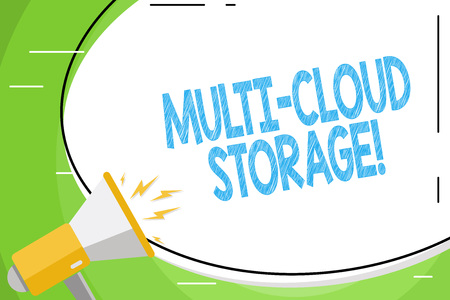 Text sign showing Multi Cloud Storage. Business photo showcasing use of multiple cloud computing and storage services Blank White Huge Oval Shape Sticker and Megaphone Shouting with Volume Icon 版權商用圖片