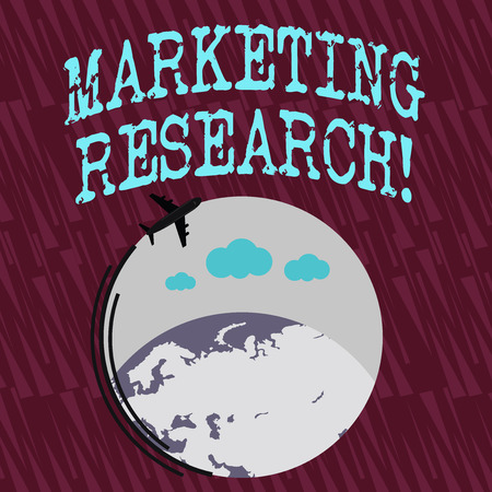 Text sign showing Marketing Research. Business photo text process of determining the viability of a new service Airplane with Moving Icon Flying Around Colorful Globe and Blank Text Space