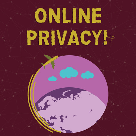 Escritura de texto escrito, privacidad en línea. La fotografía conceptual implica el control de la información que revela en línea Avión con icono en movimiento volando alrededor del globo colorido y espacio de texto en blanco