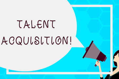 Text sign showing Talent Acquisition. Business photo text process of finding and acquiring skilled huanalysis labor Huge Blank Speech Bubble Round Shape. Slim Woman Holding Colorful Megaphone
