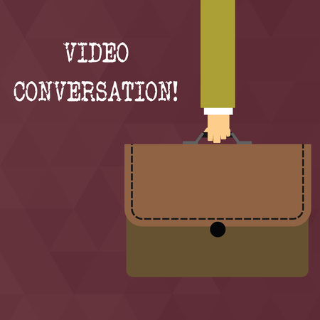 Writing note showing Video Conversation. Business concept for Communicating visually with another demonstrating via computer Businessman Carrying Colorful Briefcase Portfolio Applique Stockfoto
