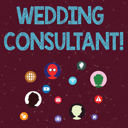 Handwriting text Wedding Consultant. Conceptual photo someone plan and coordinate the wedding celebration Networking Technical Icons with Chat Heads Scattered on Screen for Link Up