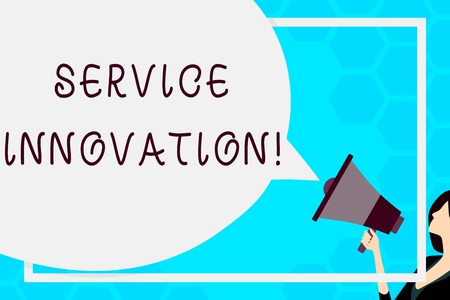Text sign showing Service Innovation. Business photo text changing the way you serve better your customers Huge Blank Speech Bubble Round Shape. Slim Woman Holding Colorful Megaphone