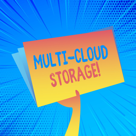 Handwriting text Multi Cloud Storage. Conceptual photo use of multiple cloud computing and storage services Hand Holding and Raising Blank Space Colorful File Folder with Sheet Inside 版權商用圖片