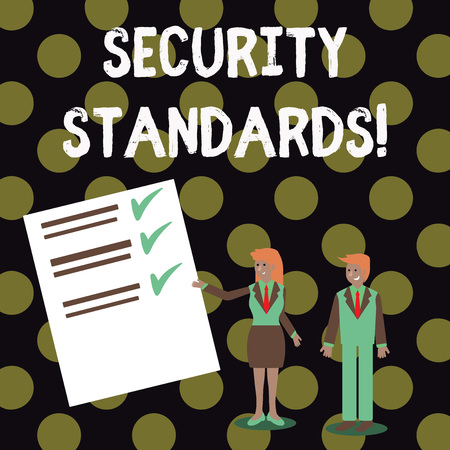 Text sign showing Security Standards. Business photo showcasing the scope of security functions and features needed Man and Woman in Business Suit Presenting Report of Check and Lines on Paper