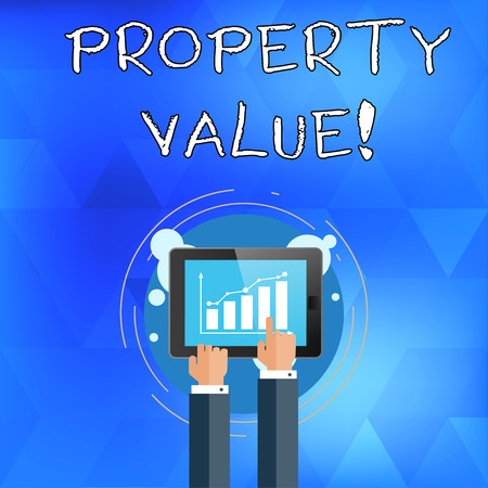Handwriting text writing Property Value. Conceptual photo refers to the fair market value of a given piece of property Businessman Hand Touching Pointing to Bar Line Chart on Smartphone Screen