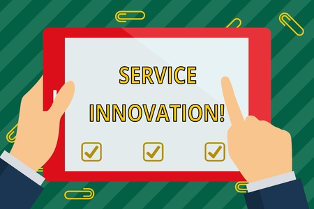 Word writing text Service Innovation. Business photo showcasing changing the way you serve better your customers Hand Holding Pointing Touching Blank Rectangular Color Tablet White Screen