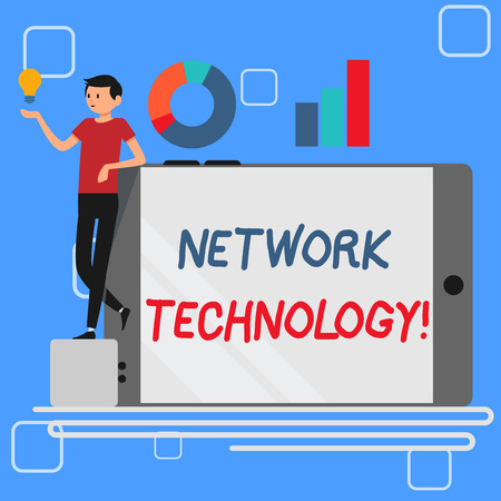 Handwriting text Network Technology. Conceptual photo transmit data digitally through information systems Man Leaning on Blank Smartphone Turned on Its Side with Graph and Idea Icon