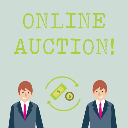 Conceptual hand writing showing Online Auction. Concept meaning process of buying and selling goods or services online Money in Dollar Sign in Rotating Arrows Between Businessmen