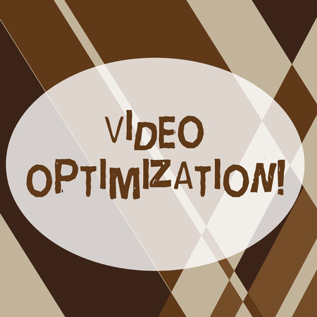Text sign showing Video Optimization. Business photo text to ensure or improve consumer viewing experience Geometrical Shapes and Linear Combination in Brown Tone in Abstract Pattern