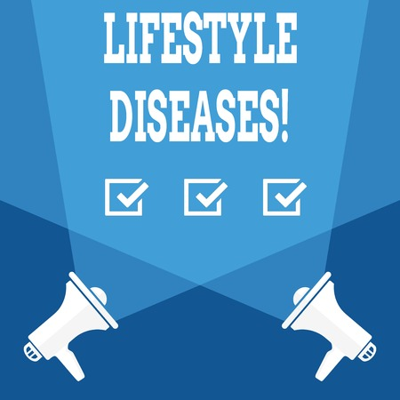 Word writing text Lifestyle Diseases. Business photo showcasing the disease associated with the way a demonstrating lives Blank Double Spotlight Crisscrossing Upward from Two Megaphones on the Floor