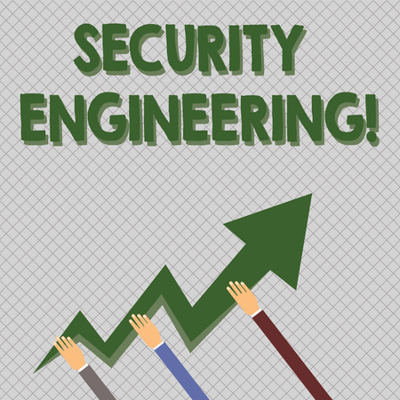 Conceptual hand writing showing Security Engineering. Concept meaning focus on the security aspects in the design of systems Hands Holding Zigzag Lightning Arrow Pointing and Going Up