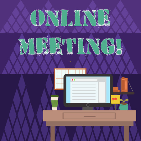 Writing note showing Online Meeting. Business concept for a meeting that takes place over an electronic medium photo of Interior Working Space Station Concept of Technical Person
