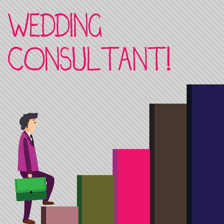 Conceptual hand writing showing Wedding Consultant. Concept meaning someone plan and coordinate the wedding celebration Man Carrying a Briefcase in Pensive Expression Climbing Up