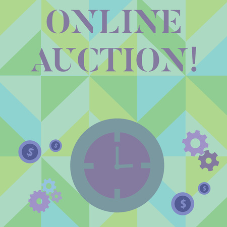 Text sign showing Online Auction. Business photo showcasing process of buying and selling goods or services online Time Management Icons of Clock, Cog Wheel Gears and Dollar Currency Sign