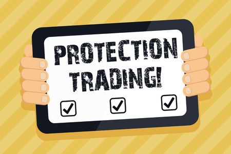 Text sign showing Protection Trading. Business photo text deliberate attempt to limit imports or promote exports Color Tablet Smartphone with Blank Screen Handheld from the Back of Gadget Stockfoto