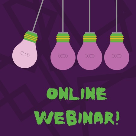 Conceptual hand writing showing Online Webinar. Concept meaning online meeting or presentation held via the Internet Color Pendant Bulb Hanging with Different Shade Lightbulb