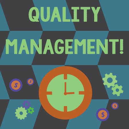 Word writing text Quality Management. Business photo showcasing overseeing and maintain a desired level of excellence Time Management Icons of Clock, Cog Wheel Gears and Dollar Currency Sign 스톡 콘텐츠