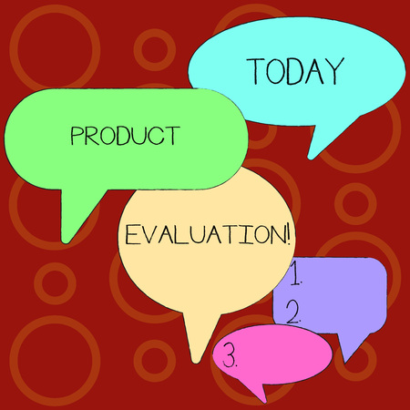 Text sign showing Product Evaluation. Business photo showcasing viability of the product with respect to market deanalysisd Many Color Speech Bubble in Different Sizes and Shade for Group Discussion
