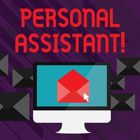 Handwriting text writing Personal Assistant. Conceptual photo administrative assistant working exclusively for a demonstrating Open Color Envelope inside Computer Screen. Letter Casing Surrounds the PC