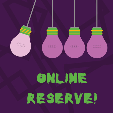 Conceptual hand writing showing Online Reserve. Concept meaning enables customers to check availability and book online Color Pendant Bulb Hanging with Different Shade Lightbulb