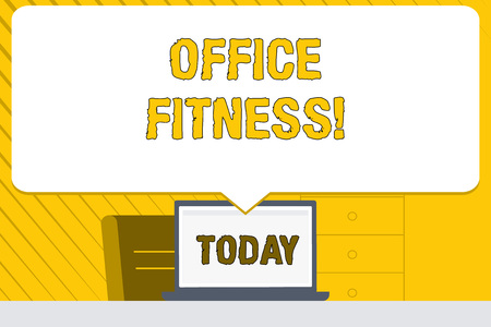 Word writing text Office Fitness. Business photo showcasing Encouraging fitness and balance lifestyle in the workplace Blank Huge Speech Bubble Pointing to White Laptop Screen in Workspace Idea