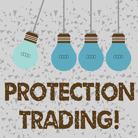 Word writing text Protection Trading. Business photo showcasing deliberate attempt to limit imports or promote exports Color Incandescent Pendant Bulb Hanging with One Different Shade Lightbulb