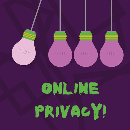 Conceptual hand writing showing Online Privacy. Concept meaning involves the control of what information you reveal online Color Pendant Bulb Hanging with Different Shade Lightbulb