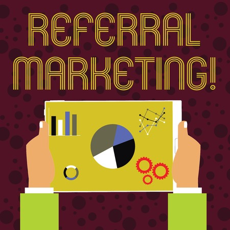 Word writing text Referral Marketing. Business photo showcasing the process of leveraging partners and customers Hands Holding Tablet with Search Engine Optimization Driver Icons on Screen