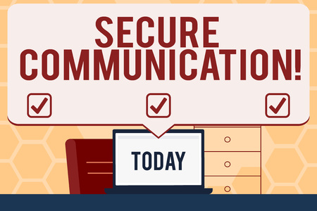 Text sign showing Secure Communication. Business photo text preventing unauthorized interceptors from accessing Blank Huge Speech Bubble Pointing to White Laptop Screen in Workspace Idea
